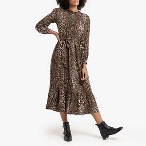 Leopard midi dress with tie
